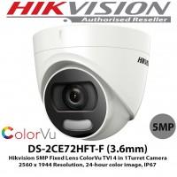 Camera CCTV HIKVISION Turbo HD DS-2CE72HFT-F Indoor 5MP ColorVu